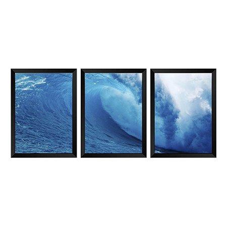 Kit de 3 Quadros Onda Oceano