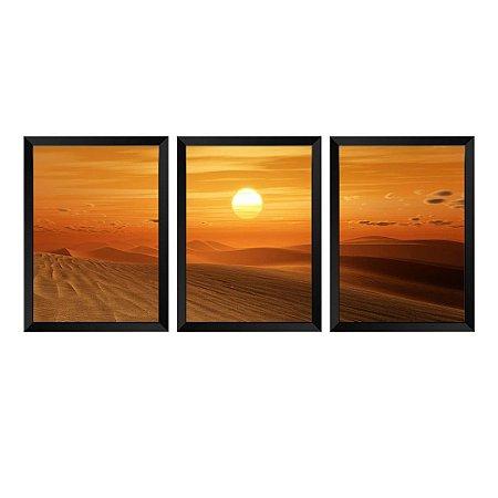 Kit de 3 Quadros Pôr do Sol no Deserto