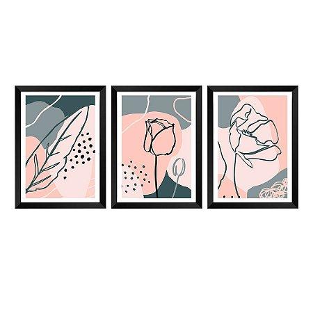 Kit de 3 Quadros Flores Poppy