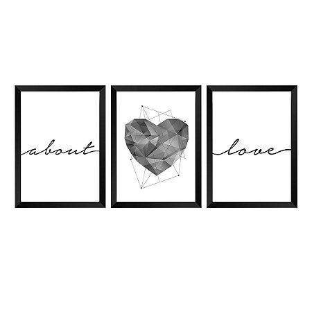 Kit de 3 Quadros About Love