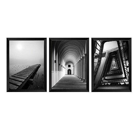 Kit de 3 Quadros Fotográficos P&B