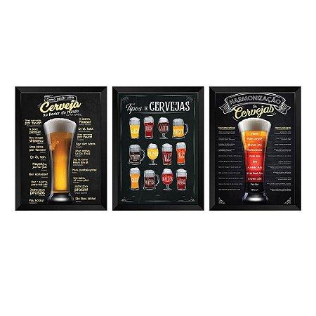 Kit de 3 Quadros Cervejas