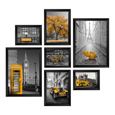 Kit de 7 Quadros Cidades em Amarelo