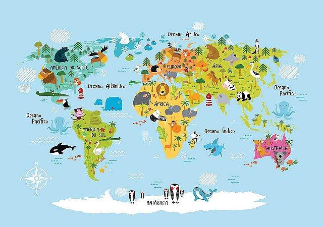 Painel Parede Fotográfico Mapa Animais do Mundo