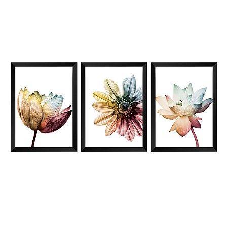 Kit de 3 Quadros Flores Elegance