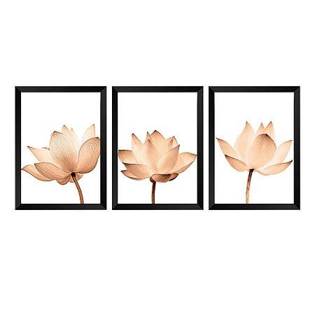 Kit de 3 Quadros Flores Rose Gold