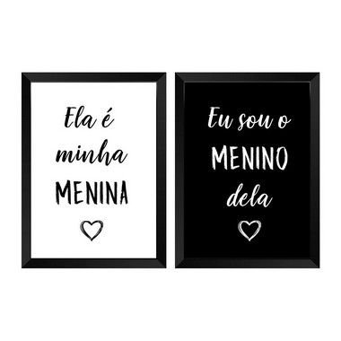 Kit de 2 Quadros Decorativos Menina & Menino
