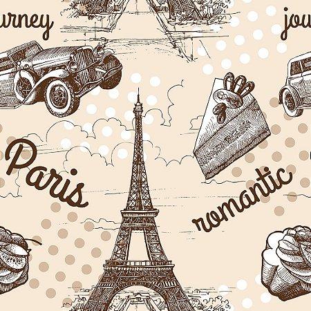 Papel de Parede Adesivo Casual Paris Romantic