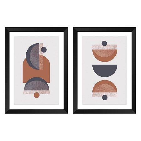 Kit de 2 Quadros Decorativos Abstrat Terracota