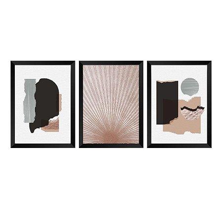 Kit de 3 Quadros Decorativos Textura Abstrat