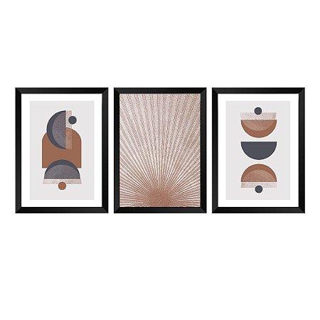Kit de 3 Quadros Decorativos Abstrat Terracota