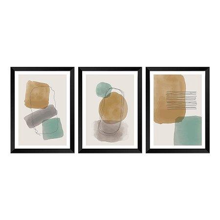 Kit de 3 Quadros Decorativos Maré