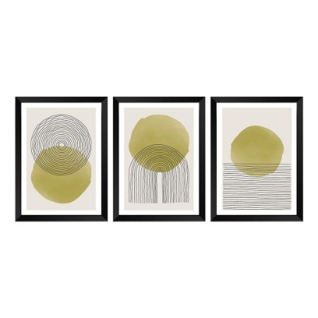 Kit de 3 Quadros Decorativos Topaz Abstrat