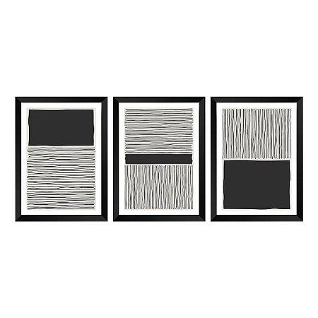 Kit de 3 Quadros Decorativos Black Beach