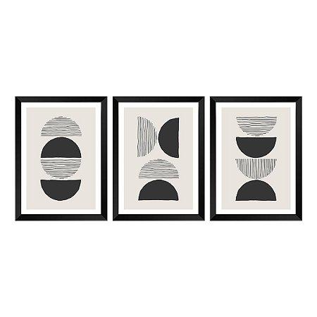 Kit de 3 Quadros Decorativos Geometric Abstrat