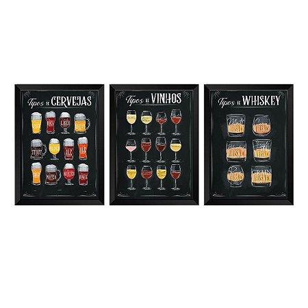 Kit de 3 Quadros Decorativos Tipos de Bebidas