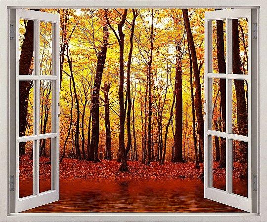 Adesivo Janela - Lago na floresta do outono - 120x90cm