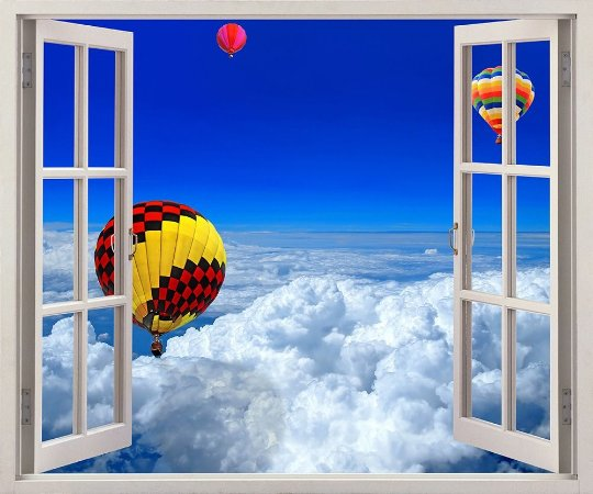 Balões sobre as nuvens - 120x90cm