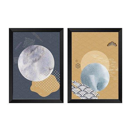 Kit de 2 Quadros Decorativos Abstrato Japase
