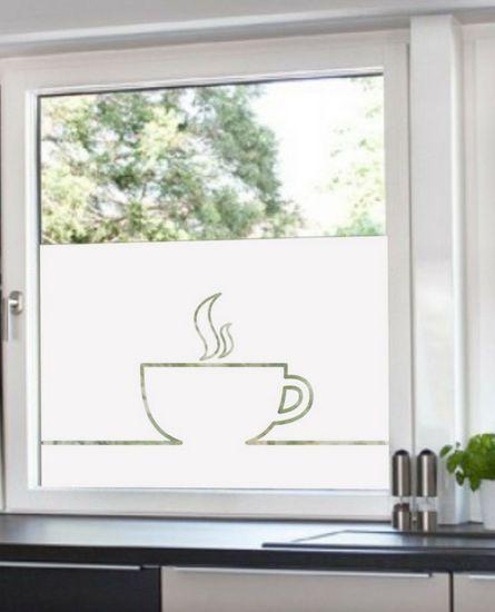 Adesivo jateado para janelas da cozinha Xicara Café 050x080