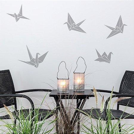 Adesivo Pássaros Origami 3 un. de 16X13 e 2 un. de 27X20 cm