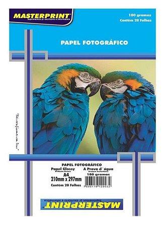 PAPEL FOTO GLOSSY MASTERPRINT 180 GRAMAS A4 20 FOLHAS