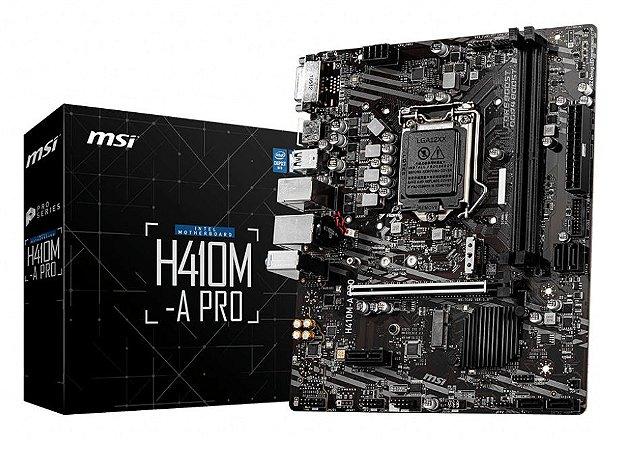 PLACA MÃE MSI H410M-A PRO SOQUETE 1200 DDR4 USB 3.2 WINDOWS 10
