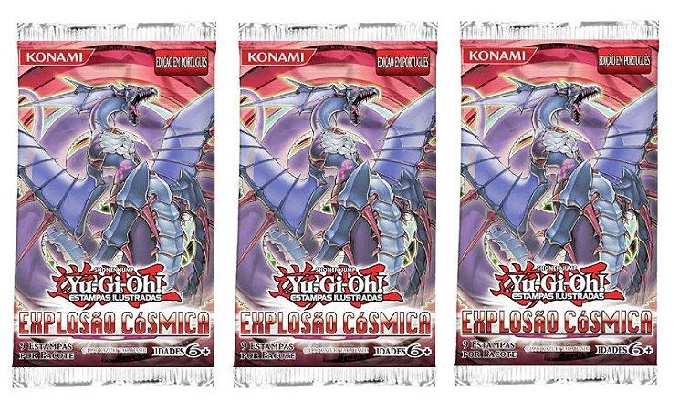 YU-GI-OH! 3 BOOSTER EXPLOSÃO CÓSMICA 27 CARTAS EM PORTUGUÊS