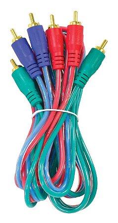CABO DE VÍDEO COMPONENTE RGB 2 METROS VINIK VC-2 CONECTOR DOURADO