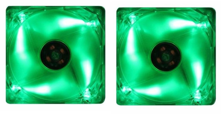2 COOLER FAN AKASA LED VERDE 80MM 8CM AK-170CG-4GNS NOVOS