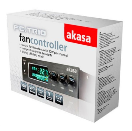 CONTROLADOR DE COOLER FAN AKASA FC.TRIO C/ DISPLAY ACEITA 3 COOLER