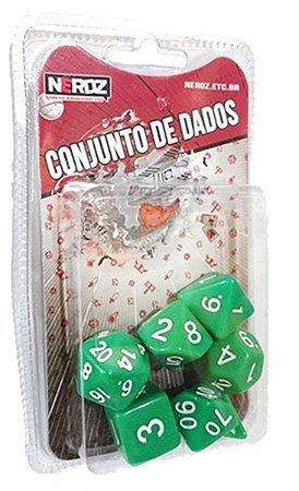 7 DADOS P/ RPG E TABULEIRO OPACO VERDE C/ BRANCO