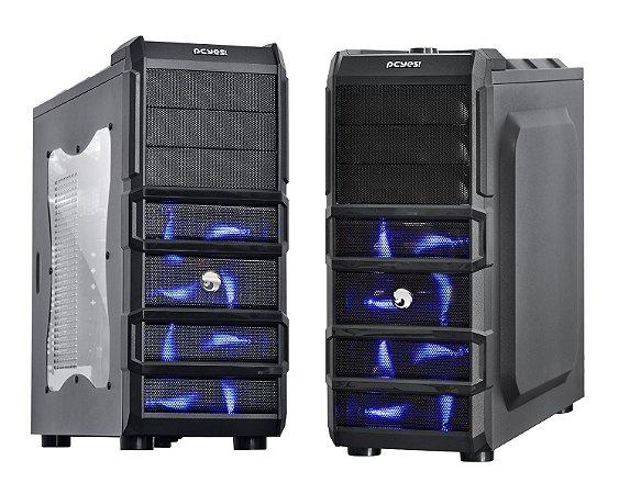 GABINETE GAMER PCYES RHINO C/ 3 COOLER 120MM LED AZUL USB 3.0 COMPATÍVEL SSD