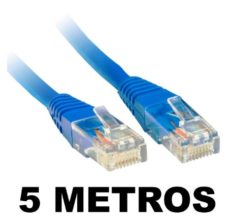 CABO DE REDE 5 METROS CAT5E AZUL CRIMPADO PLUS CABLE