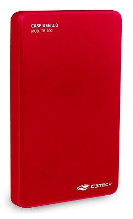 CASE HD SSD SATA 2,5 USB 2.0 C3TECH CH-200RD VERMELHO HD ATÉ 2TB