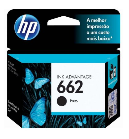 CARTUCHO HP 662 PRETO CZ103AB 2 ML INK ADVANTAGE NOVO LACRADO
