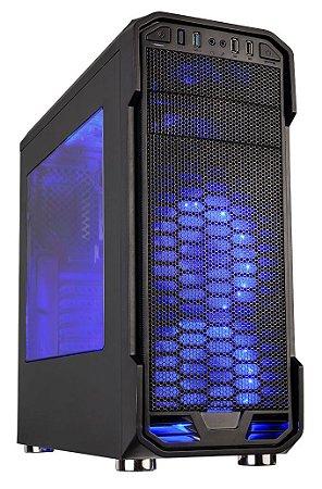 GABINETE GAMER C3TECH MT-G600BK USB 3.0 SUPORTA SSD C/ 1 COOLER LED AZUL