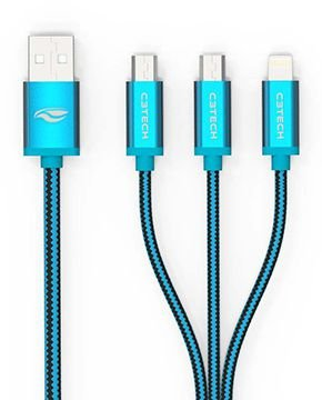 CABO 3 EM 1 USB MICRO USB LIGHTNING C3TECH CB-300BL ANDROID IOS