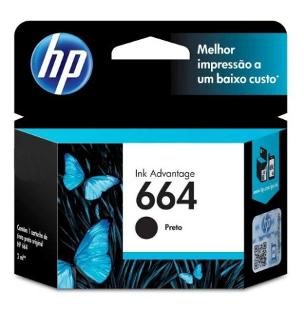 CARTUCHO HP 664 PRETO 2 ML F6V29AB ORIGINAL LACRADO