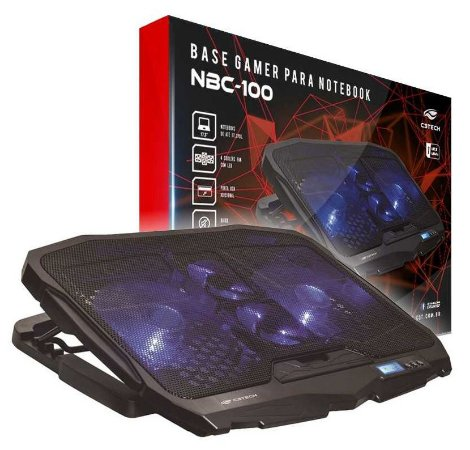 BASE C/ 4 COOLER NOTEBOOK GAMER C3TECH NBC-100BK LED AZUL DISPLAY LCD