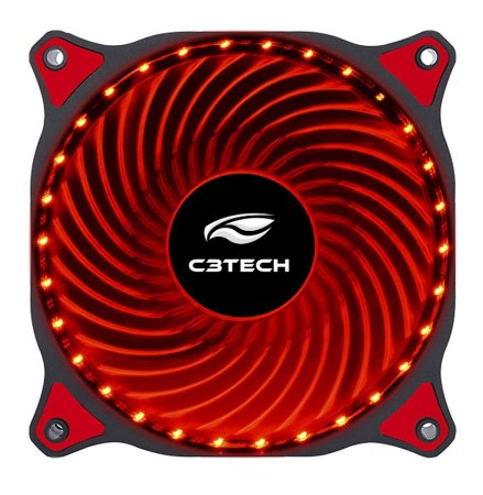 COOLER FAN LED VERMELHO 12 CM C3TECH F7-L130RD P/ GABINETE 30 LEDS