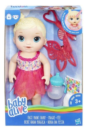 BONECA BABY ALIVE HORA DA FESTA LOIRA 32 CM PINTURA MAGICA BEBE E FAZ XIXI