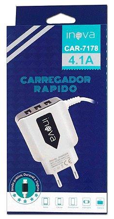 CARREGADOR RÁPIDO DE TOMADA 3 USB 1 MICRO USB INOVA CAR-7178
