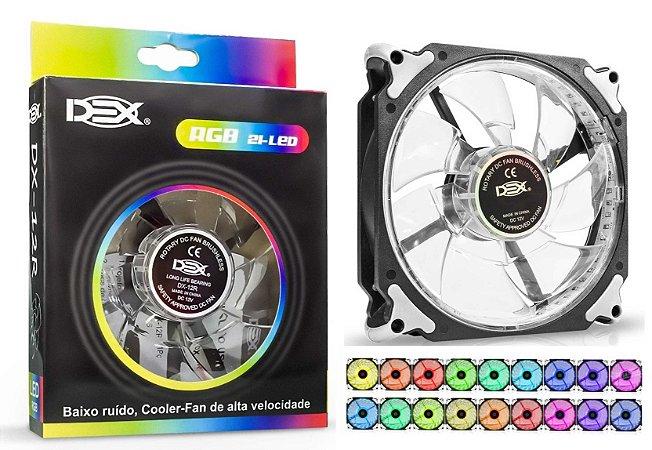 COOLER PARA GABINETE 12 CM LED RGB DEX DX-12R C/ BOTÃO DE TROCA DE COR