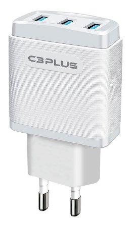 CARREGADOR TURBO 3 PORTAS USB 3.1A C3PLUS UC-30WHX BIVOLT
