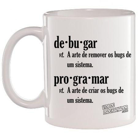 Caneca Branca Debugar / Programar