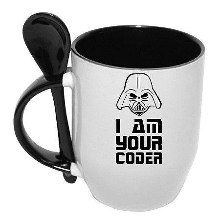 Caneca com Colher I Am Your Coder