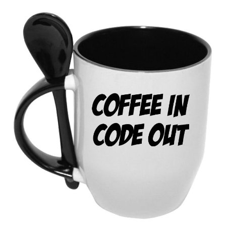 Caneca com Colher Coffee In Code Out