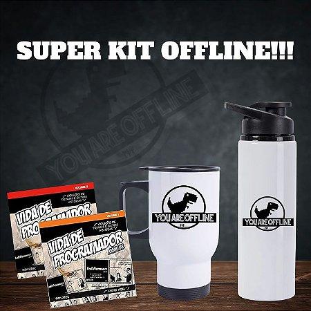 Kit Offline com Caneca Térmica, Squeeze, Livrinhos, Chaveiro e Kit de Adesivos