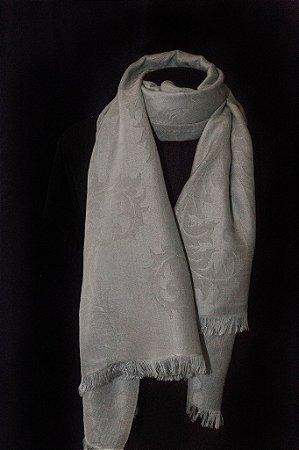 Pashmina Lã com Seda Brocada cor Cinza Prata